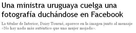 Una ministra uruguaya cuelga una fotografia duchándose en Facebook
